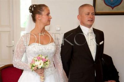 Rosa-weiß-grüner Brautstrauß