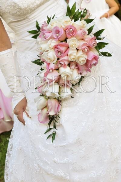 Ddekor Rosa Creme Langlicher Brautstrauss Dekoration Hochzeit